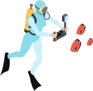 Illustration of a scubadiver taking a photo of 3 fish