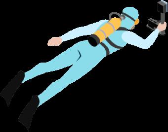 Illustration of a scubadiver swimming