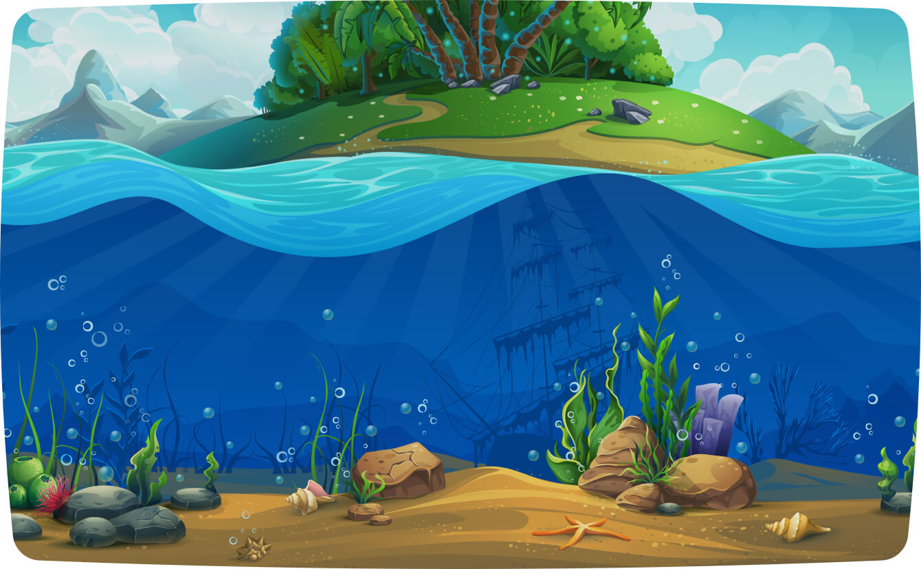 Underwater scene in front of an island